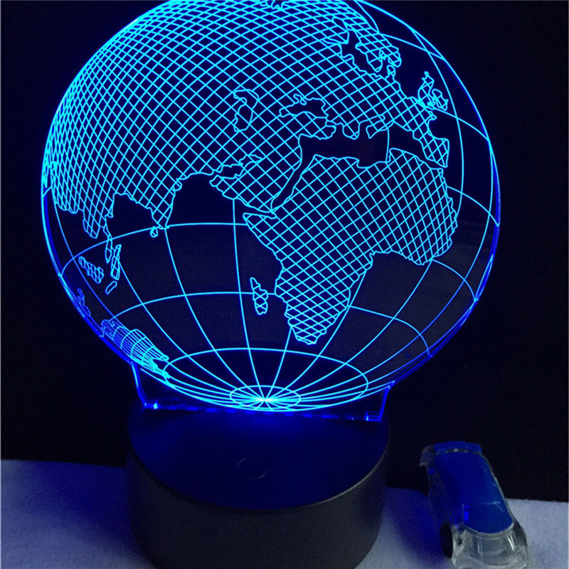 Acrylic Led party globe night light fixtures colorful change with touch button earth shape party lights lamp event supplies(China)