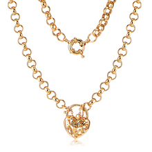 Vintage Heavy Solid 24K Yellow Gold Color Heart Link Chain Long Necklace  Wedding Jewelry Girl Fashion Lucky Korean Forever