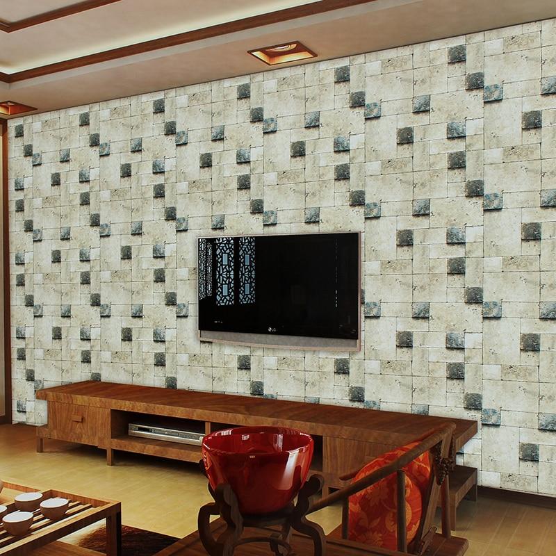papel de parede 3d three-dimensional brick pattern wallpaper modern Chinese imitation stone block TV backdrop living room<br>