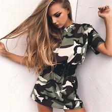 Mini Camouflage dresses for women Women Camouflage Short Sleeve Party Cocktail Short Mini Dress With Belt TW Buy one with two(China)