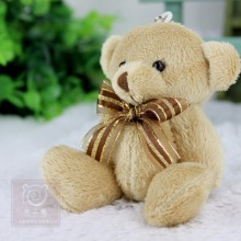 24pcs/lot Promotion gifts 12CM bow tie brown teddy bear mini joint plush keychain bear bouquet toy/phone pendant