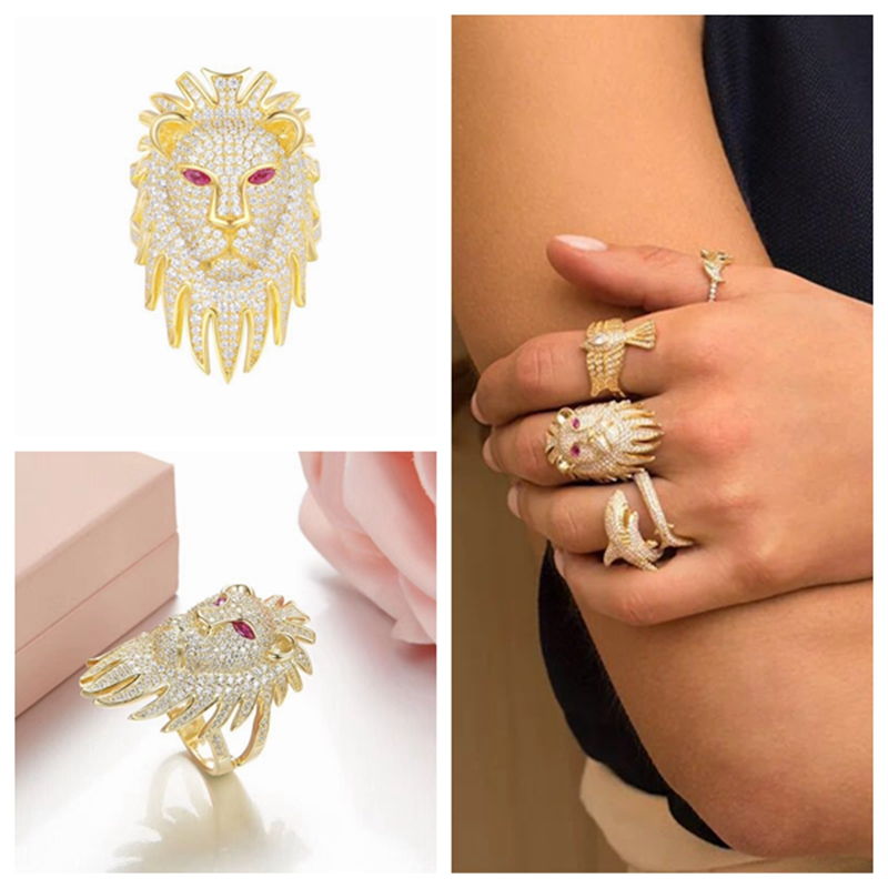 YP2335 Large Zircon Lion Cuff Finger Ring 3D 925 Sterling Silver Red Eyes Ring Women Wedding Cuff Jewelry Stackable Ring