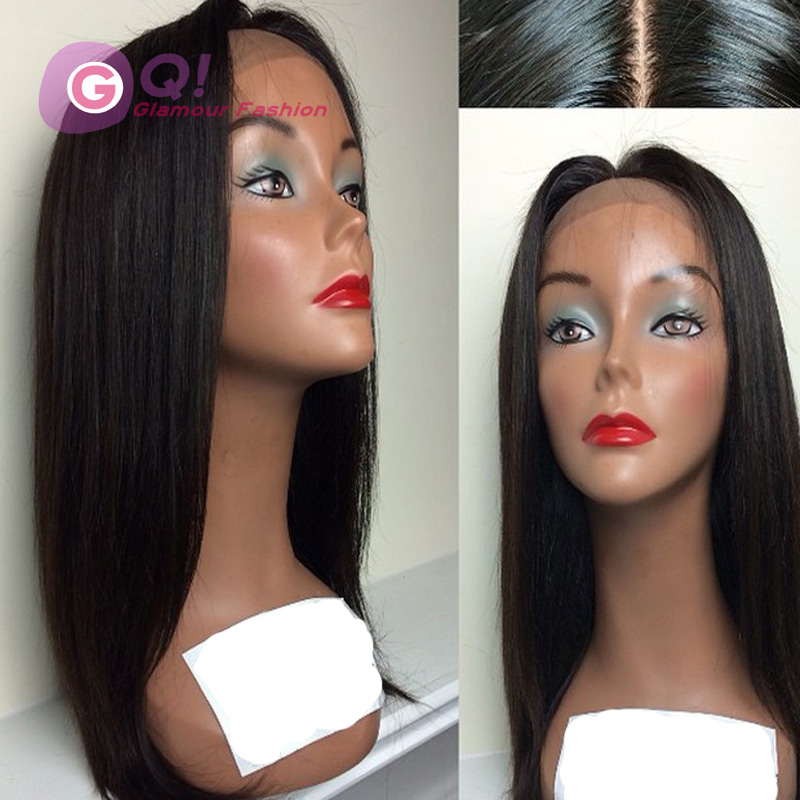 GQ Silky Straight Human Hair Wig Brazilian Full Lace Human Hair Wigs Straight 130 Density Glueless Lace Front Natural Hairline<br><br>Aliexpress