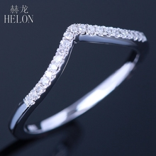 HELON Solid 10K White Gold Half Eternity Band Pave Natural Diamonds Anniversary Wedding Women's Eternity Fine Jewelry Ring