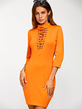 Gamiss Mock Neck Lace Up Bodycon Dress Women Robe Femme ete 2017 Three Quarter Sleeve Solid Orange Slim Mini Short Dresses(China)
