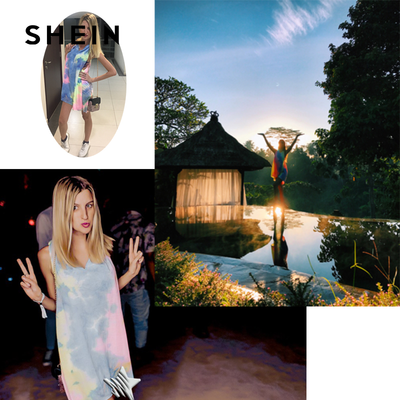 SHEIN Boho Unique Tie-dye Beach Shift Dress,2017 Fashion Summer Music Festival Holiday Rainbow Color Clothes,Sleeveless Knotted