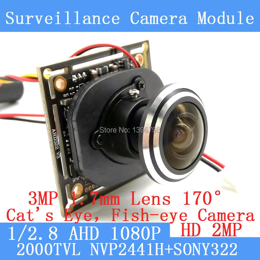 1/2.8 1920*1080P AHD Mini Camera Module 2MP SONY IMX322 360 Degree Wide Angle Fisheye Panoramic Surveillance Camera Infrared <br>