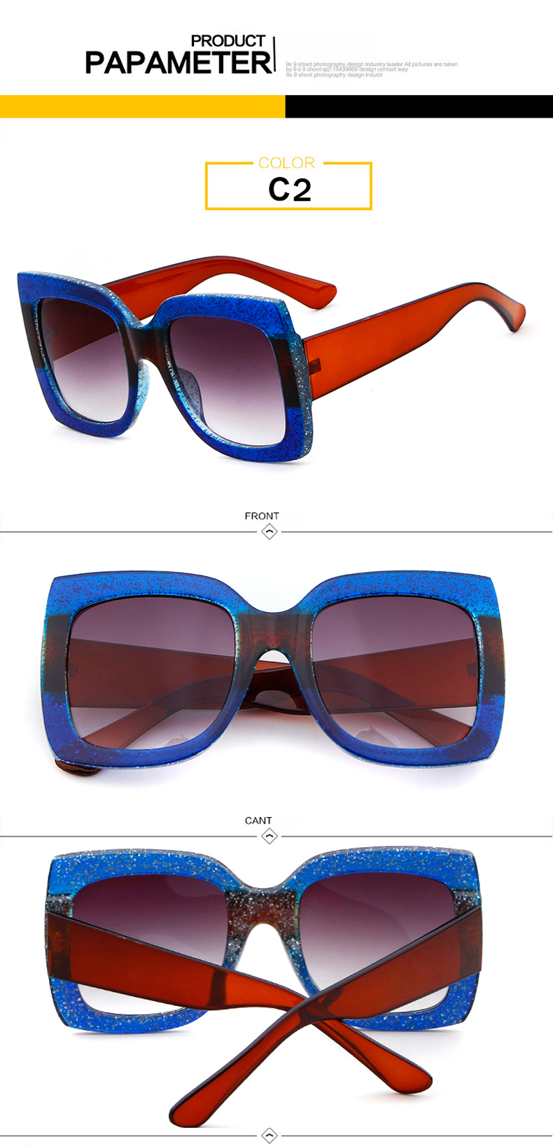 Long Keeper 2018 Hot Sale Luxury Ladies Oversized Square Sunglasses Women Mirror Gradient Sun Glasses With Glasses Bag S586HZ