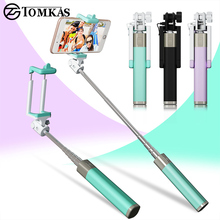 Mini Selfie Stick With Button Wired Silicone Handle Monopod Universal For iPhone 6 5 Android Samsung Huawei Xiaomi Sticks(China)