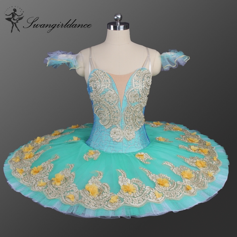 professional tutu ballet stage costumes Green Flower Fairy Women Professional Pancake Tutu Girls Classical Platter Dress BT9147C