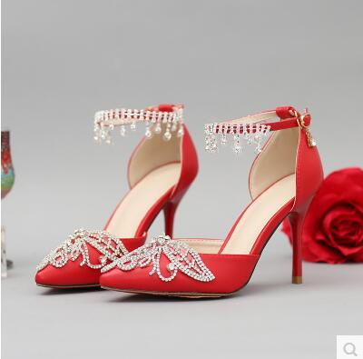 Red pointed high with fine banquet shoes tg641 white rhinestone flowers one word crystal wristband wedding shoes<br><br>Aliexpress