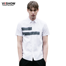 VIISHOW Brand Camisa Masculina Summer Style Men's Short Sleeved Cotton Striped Shirt Male Breathable White Blouse Men Clothing(China)