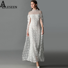 Luxury Elegant Chic Maix Long Dresses Fashion Ruffled Mesh Embroidery White Sexy Trim 2017 Trumpet Cloak Long Dress