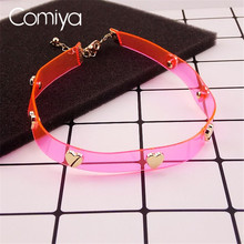 Comiya Pink Artificial Leather Choker Necklace Gold Color Heart Pendants Decoration Feminino Jewelry Necklaces For Women(China)