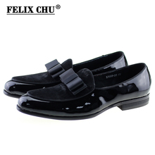 FELIX CHU Autumn Patent Leather And Suede Leather Men Wedding Party Black Dress Shoes Men's Banquet Loafers With Bowtie E7509-20(China)
