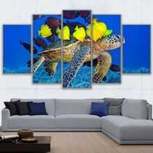 Wall Art Canvas HD Prints Pictures Framework Home Decor Living Room 5 Piece Sea Turtle & Fish Friends Painting Coral Reef Poster(China)
