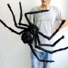1pcs/lot Halloween Prop Horror Black Spider And Web Decoration Plush Tricky Toys More Size and Color For Party Event(China)