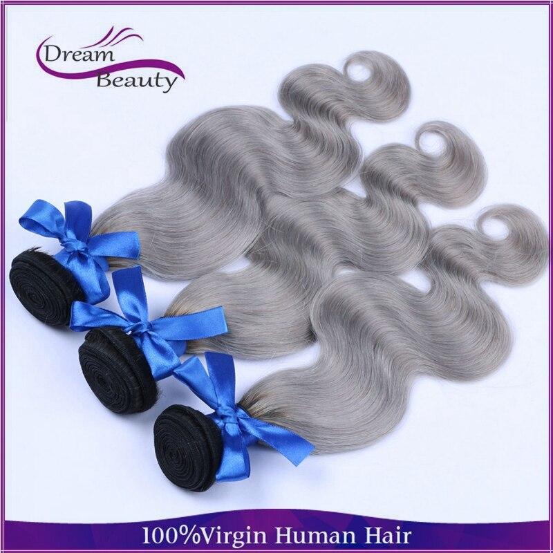 Brazilian body wave 1b/gray ombre human hair top quality gray ombre hair weft ombre hair extensions silver hair free shipping<br><br>Aliexpress