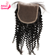 Atina Queen Mongolian Kinky Curly Closure With Baby Hair 10-20inch Natural Color 4x4 Lace Closure Piece non Remy 100% Human Hair