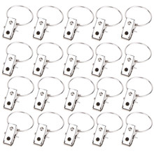 20pcs/lot Stainless Steel Curtain Rod Clips Window Shower Curtain Rings Clamps Clips Curtain Accessories