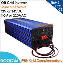 6000W DC12V/24V OffGrid Pure Sine Wave Solar or Wind  Inverter, City Electricity Complementary Charging Function with LCD Screen