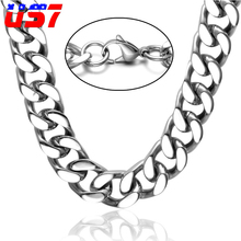 Buy US7 Rock Silver Cuban Chain Mens Necklace 60CM/24inch Long Stainless Steel Curb Link Miami Chain Men Jewelry for $5.84 in AliExpress store