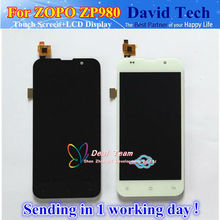 High Quality LCD Display + Digitizer Touch Screen Glass For ZOPO ZP980 + C2 C3 Cell Phone Black / White Color Free Shipping