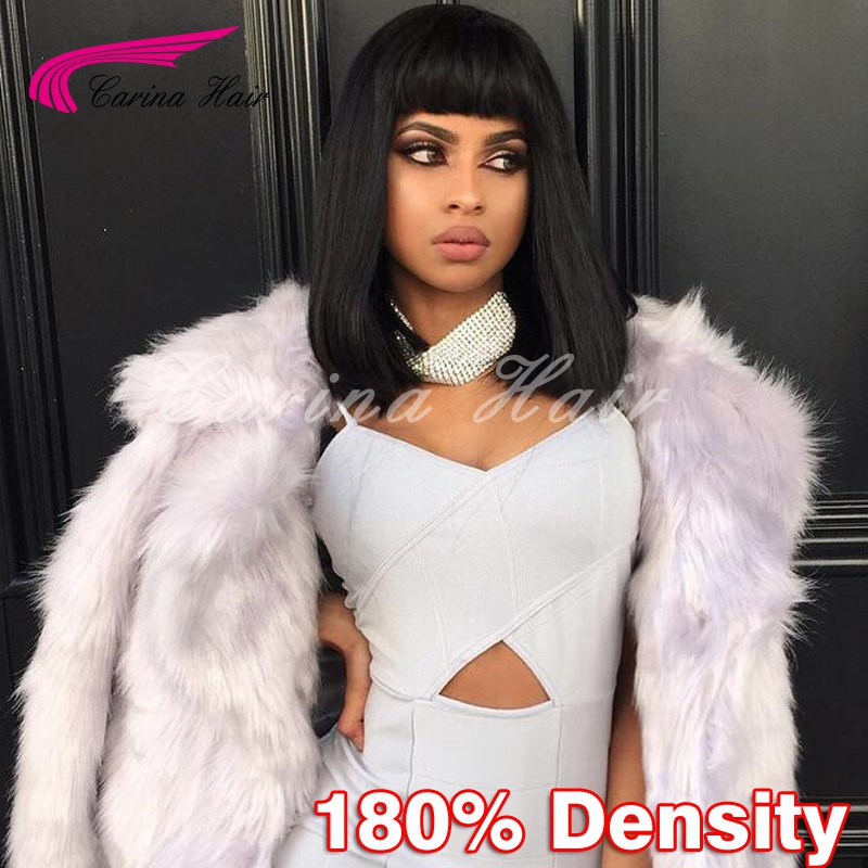 8A Grade Straight Human Hair Bob Wigs With Bangs Virgin Brazilian Full Lace Wigs For Black Women Glueless Bob Lace Front Wigs<br><br>Aliexpress