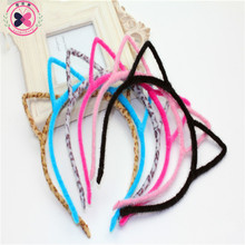 Haimeikang Girls Cat's Ears Hair Hoop Hairbands 6 Colors Stylish Women Headband Sexy Cat ears Hair Band Accessories Headwear(China)