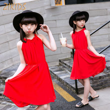 4-14Y Girls Dress Summer Clothes 2017 Casual Red High Quality Long Dresses Kids Children Clothing Trendy Party Brand Costume