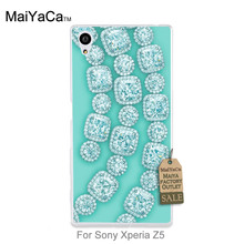 MaiYaCa Protective PC Mobile phone case Diamond crystal jewelry in mint For case sony z5(China)