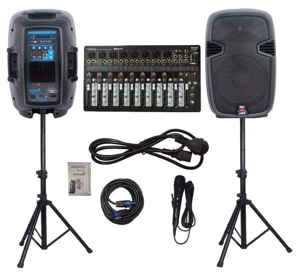 STARAUDIO 2Pcs PA DJ 12″ 2000W Stage Powered USB SD BT Speakers W/ 10 CH Mixer 2 Stands 1 Wired Mic 1 Cable SSD-12A