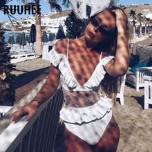 Buy RUUHEE One Piece Swimsuit Women Swimwear Ruffle Bodysuit 2018 Bathing Suit Sexy Mesh Swimming Suit Women Beachwear Biquini