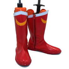 Free Shipping Anime Sailor Moon Crystal Cosplay Costume Shoes Sailor Moon Red Halloween Cosplay Boots Faux Leather Custom New