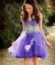 Girls Short Cocktail Dresses Sparkle Sequins Beaded Party Dresses Lavender Purple Tulle Petite Dresses SAU340