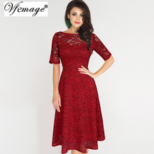 Vfemage Womens Elegant Sexy Lace See Through Tunic Casual Club Bridesmaid Mother of Bride Dress Skater A-Line Party Dress 3977(China)