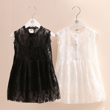 2017 Summer Baby Lace Sleeve Smock Dress Girls Cotton White and Black Color Dress Suit Smock + Suspenders C-0456