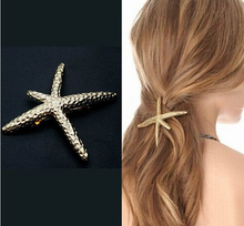 Korea Newest Design Exquisite Metal Hair Clips Super Satr Starfish Satement Hairpins Hairwear Accessories Fashion Jewelry