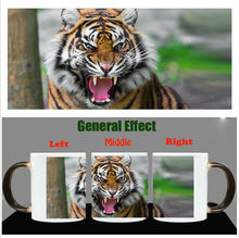 Color Chang Mug  Magic Coffee Mugs Ceramic  Sublimation White Cups Printing with Tiger picture Free Shipping