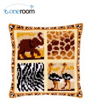 5th CX0163 Four Animals Acrylic Yarn Embroidery Pillow Tapestry Cushion Front Cross Stitch Pillowcase DIY needlework