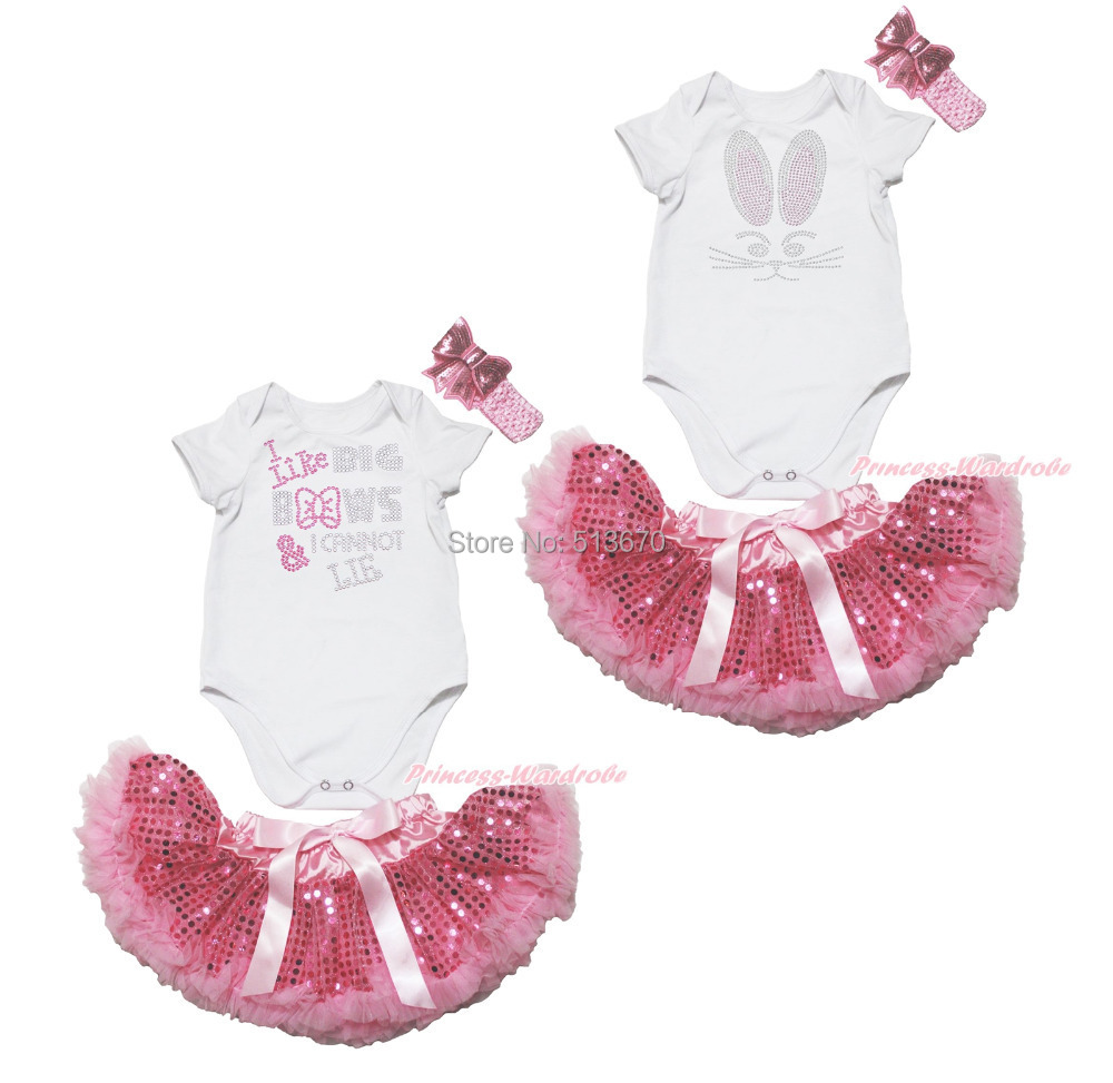 Easter Rhinestone Bunny Like Bows White Bodysuit Pink Bling Newborn Skirt NB-12M MAJPA0010<br><br>Aliexpress