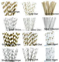 25pcs/lot Metallic Gold Silver Paper Straws for Birthday Wedding Baby Shower decorative Creative Drinking Straws Supplies