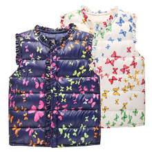 6-Style Autumn&Winter Sweet Floral Children's Girls Jackets Cotton Warm Kids Vest For Girl Waistcoat Children Outerwear Clothing(China)