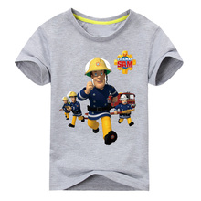 2017 Children New Cartoon Design Printing 100%Cotton T-shirts Boy Girls Sam Pattern White Tee Tops Clothes Kids Clothing TP016