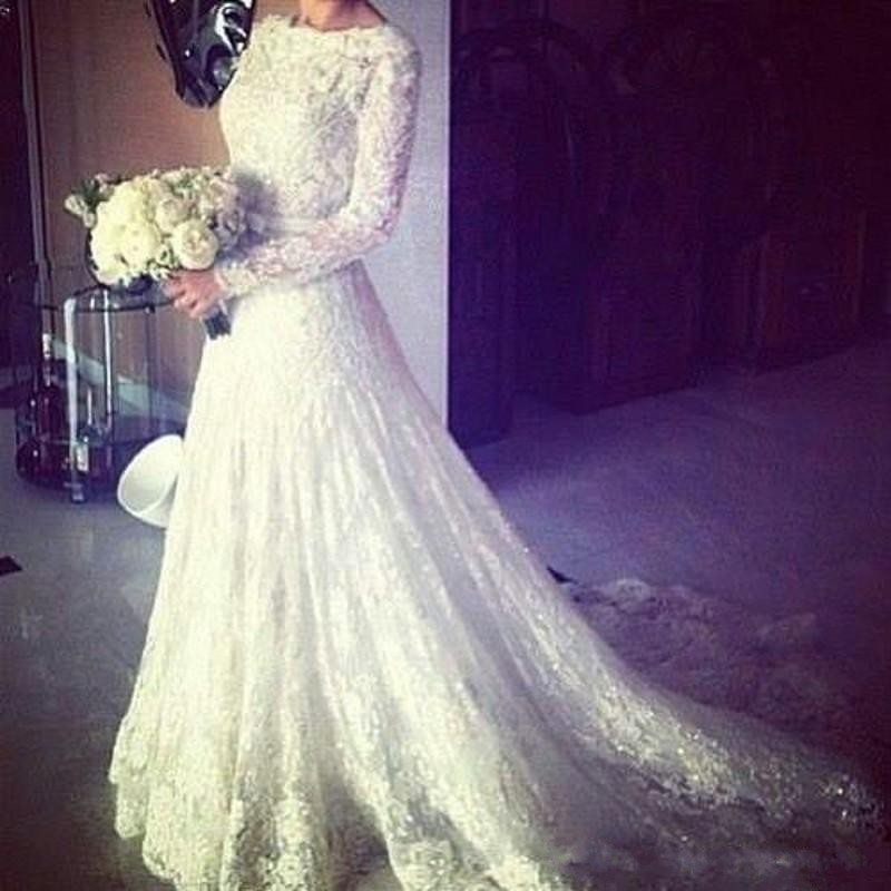 2019 Latest A-Line Wedding Dresses Lace Beaded Appliques Long Sleeves Bridal Dresses Custom Made Wedding Gowns robe de mariee