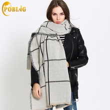 [POBING]Za Winter Scarf Women 2017 Thicken Double Plaid Unisex Acrylic Wrap Basic Big Shawls Cashmere Pashmina Blend Blanket(China)