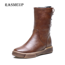 RASMEUP England Vintage Women Mid Calf Boots Autumn Winter Plush Warm Woman Retro Flat Martin Boots Back Lace Up Women's Shoes(China)