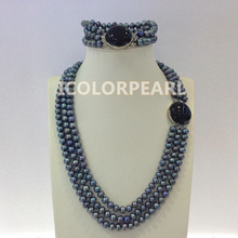 Three Strand 7-8mm Semiround Black Natural Freshwater Pearl Jewelry Set N:45-50cm, B:19-21cm, and Earrings)(China)