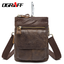 OGRAFF Genuine Leather Men Waist Bag small Handy Male Pouch Belt Purse Bag Phone Bum Waist Pack mini men shoulder bag 2017