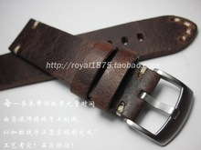 High Quality Handmade Straps Men's 18 19 20 21 22mm Retro Brown watch band Matte Leather steel buckle For MIDO IWC Tissot Seiko(China)